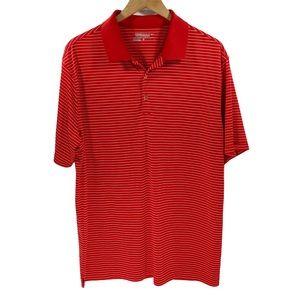 Nike Golf Men's XL Victory Stripe Polo Swoosh Red
